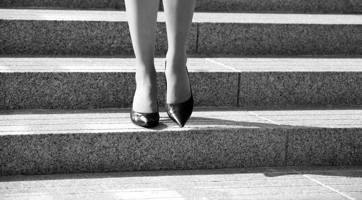 ladies shoes on steps